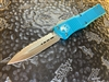 Microtech Combat Troodon Double Edge Satin Full Serrated Turquoise