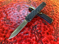Microtech UTX-70 Single Edge Bronzed Standard Carbon Fiber Signature Series