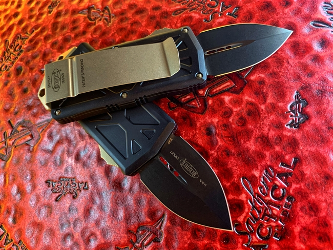 Microtech Exocet Double Edge DLC Standard w/ Bronze Hardware