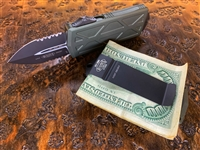 Microtech Exocet Double Edge Part Serrated OD Green