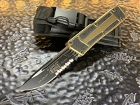 Microtech Navy Scarab Single Edge Part Serrated Tan