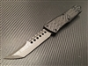 Microtech Signature Series Combat Troodon Hellhound Tanto Damascus Carbon Fiber Top Silver Ringed Ti