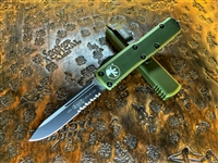 Microtech UTX-85 Single Edge Part Serrated OD Green