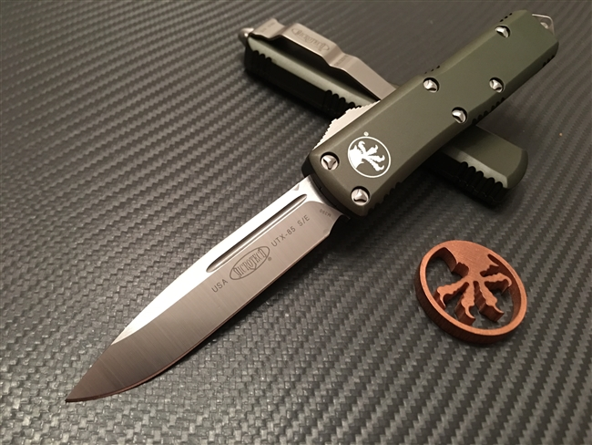 Microtech UTX-85 Single edge OD Green Satin
