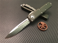 Microtech UTX85 Single Edge Satin Part Serrated OD Green