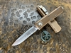 Microtech UTX-85 Single Edge Part Serrated Satin Tan
