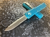 Microtech UTX-85 Single edge Satin Part Serrated Turquoise