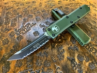 Microtech UTX85 Tanto Full Serrated OD Green