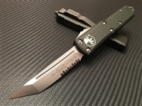 Microtech UTX85 Tanto Satin Part Serrated OD Green
