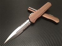 Microtech Cypher Double Edge Stonewashed Part Serrated Tan