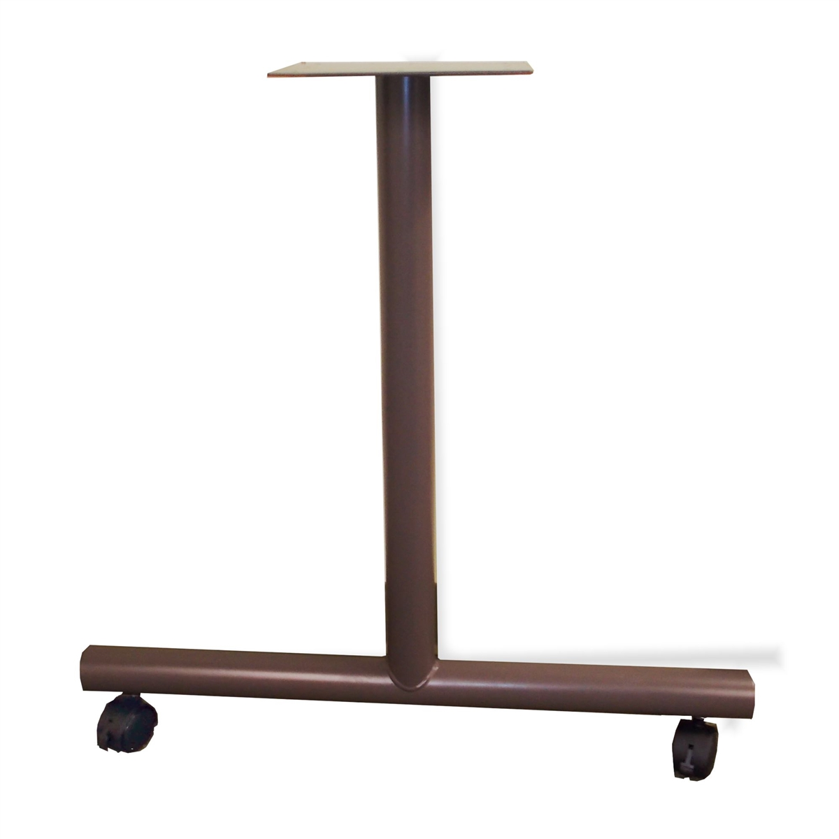 Metal TLeg Table Base With Locking Casters For Deep Worktops - T base table legs