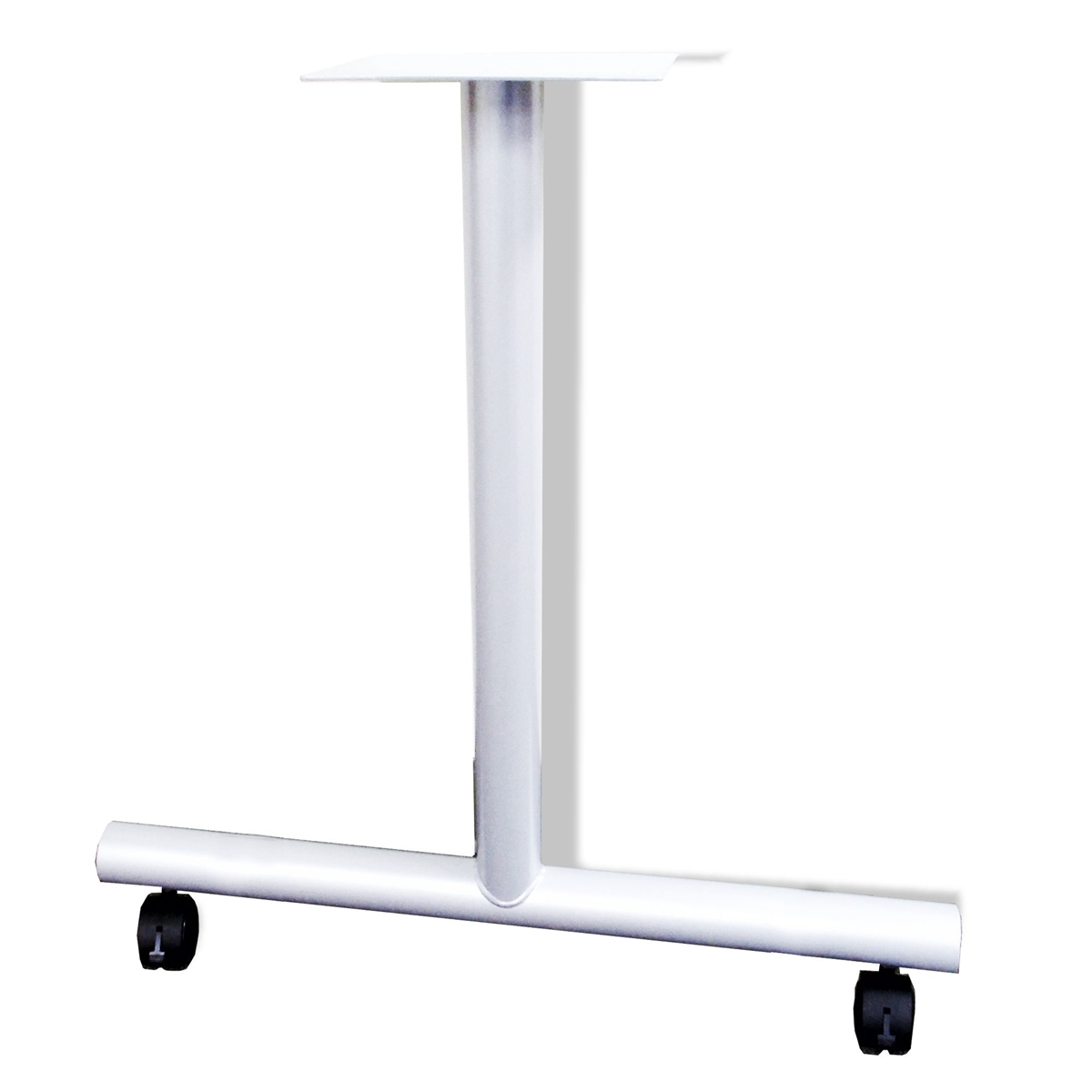 White Metal TShaped Desk Base With Locking Casters For Deep - T base table legs
