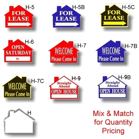 17 x 23 corrugated plastic die cut house shaped signs