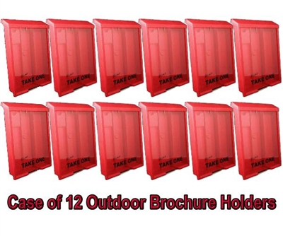 Red Outdoor Brochure Box and Card Holder-Case of 12 in Red