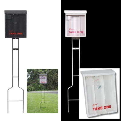 Brochure Box And Business Card Holder On A Stake