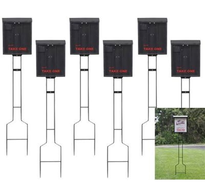 Outdoor Brochure Box on a Stake in Black - 6 Pack