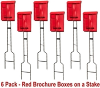 Outdoor Brochure Box on a Stake in Red - 6 Pack