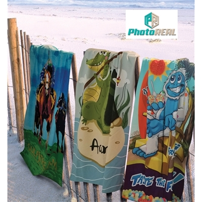 "Full Color 30"" x 60"" Microfiber and Cotton Beach Towel"