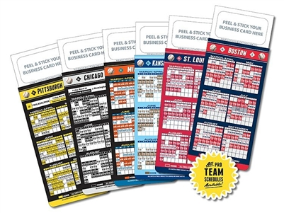 Add Your Business Card MLB Pro Baseball Schedule Magnet
