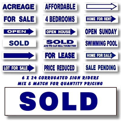 "Stock Coroplast Sign Riders Blue 6"" x 24"""