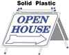 Solid Plastic Open House A Frame 6 Pack - White w Blue Print