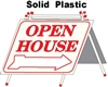 Solid Plastic Open House A Frame 6 Pack - White w Red Print