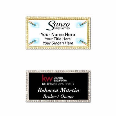 1.5x3 Full Color Bling Rhinestone Name Badge