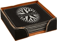 Black/Silver Square Coasters Set of 6