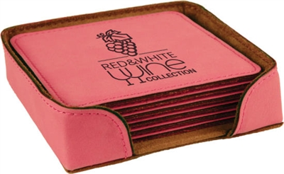 Pink Square Coasters Set of 6