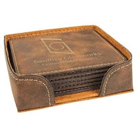 Rustic/Gold Square Coasters Set of 6