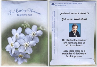 In Loving Memory Forget Me Not Custom Printed Packets