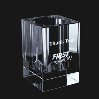 Engraved Crystal Pen & Pencil Holder