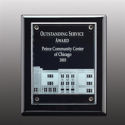Engraved Glass Cantebury Plaque Award