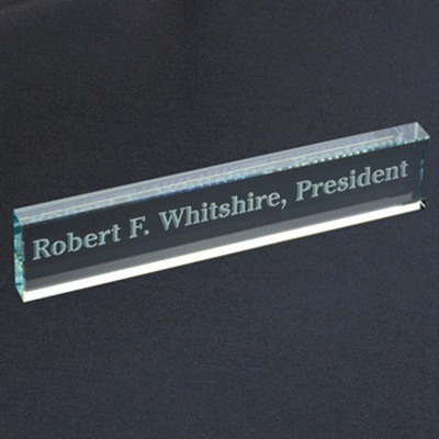 Engraved Glass Desk Name Bar