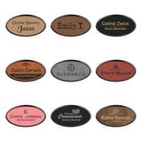 Vegan Oval Leather Name Badge with Frame