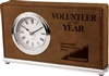 Dark Brown Horizontal Leatherette Desk Clock