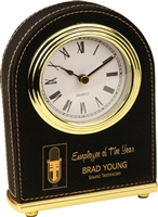 Black Arch Leatherette Desk Clock