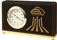 Black Horizontal Leatherette Desk Clock