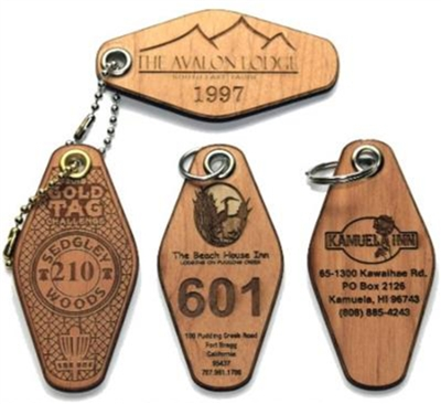 Hotel / Motel Wood Engraved Key Tags