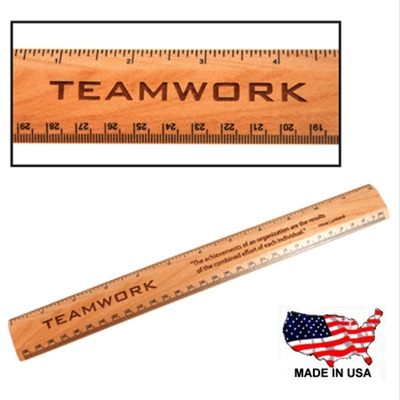 "Engraved Maple 12"" Wood Ruler"