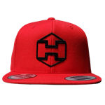 Red Snapback Hat Black Hextat Badge Logo