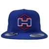 Blue Snapback Hat White and Red Hextat Badge Logo
