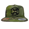 Camo Snapback Hat Black Hextat Badge Logo