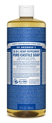 Dr. Bronner's Pure-Castile Soap - PEPPERMINT (32 OZ)