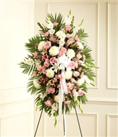 Large pink and white funeral spray