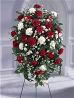 large red and white funeral spray