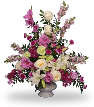 Mixture of pastel in medium urn