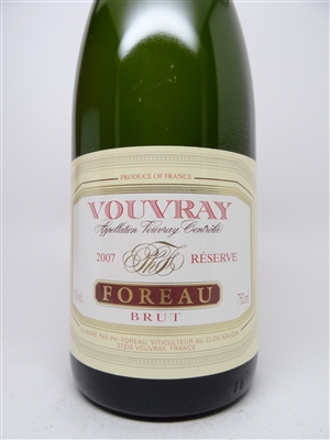 Foreau. Vouvray Brut Reserve 2007 750ml