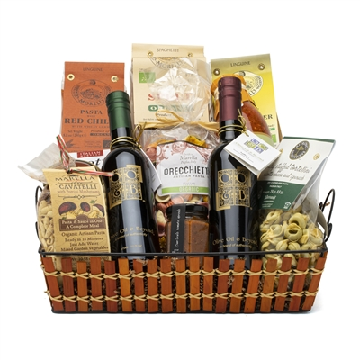 Savory Gourmet gift basket loaded with exotic gourmet treats and Italian olive oils and premium balsamic from Olive Oil and Beyond