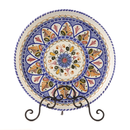 Large Round Serving Plate, Multicolor